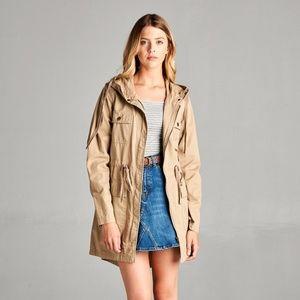 Jackets & Blazers - PLUS--Shala Utility Jacket -- Khaki