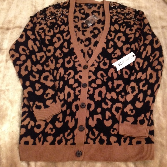 41% off Forever 21 Sweaters - MWT 4 ever 21 leopard print cardigan ...