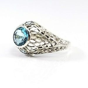 Jewelry - Sterling Silver Aquamarine Victorian Filigree Ring