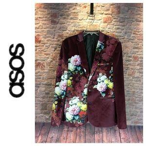 💸ASOS Super Skinny burgundy flowery print blazer