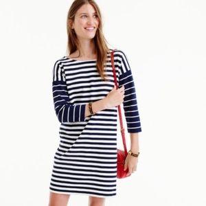 J.Crew Blue White Colorblock Stripe Ponte Dress