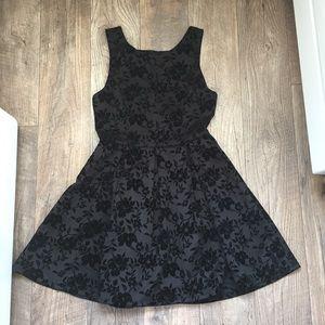 Black Floral Velvet Brocade Hi Neck Pleated Dress