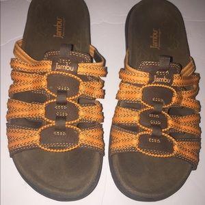 Women Jambi mars orange sandals slides size 8.