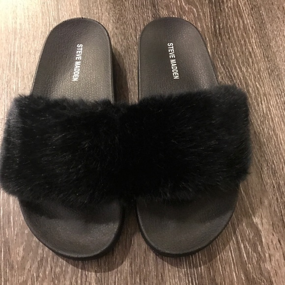 sneakers for cheap outlet for sale low priced Steve Madden Shoes | Furry Slides Black Size 9 New | Poshmark