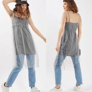 Topshop Sheer Mesh Overlay light gray dress