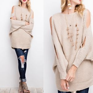 VALERIE Cold Shoulder Sweater - OATMEAL