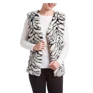 Zebra Print Faux Fur Vest