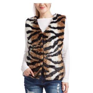 Tiger Print Faux Fur Vest