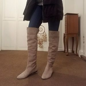 Gianni Bini Knee High Gray Suede Boots