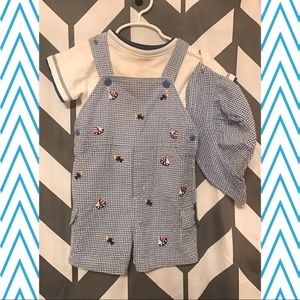Other - Blue Gingham Overall shortall set w shirt and hat