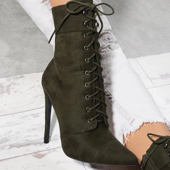 Shoes | Olive Green Pointy Toe Lace Up