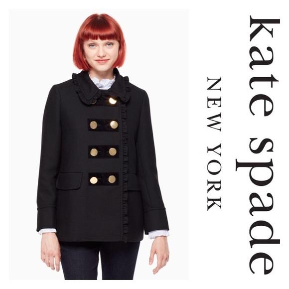c6b91f3ead1 kate spade Jackets & Coats | New Ruffle Velvet Trim Coat Black Sz 10 ...