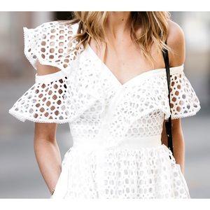 Self-Portrait White Frill Lace Midi Dress