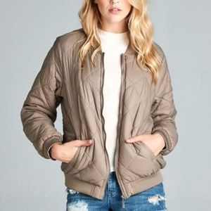 Jackets & Blazers - PLUS--ONLY ONE 2X LEFT-Khaki Quilted Bomber Jacket