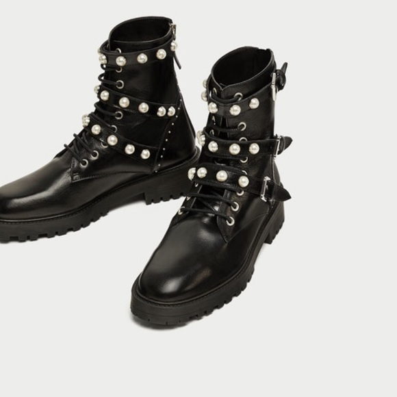 Nwt Zara Faux Pearl Combat Boots