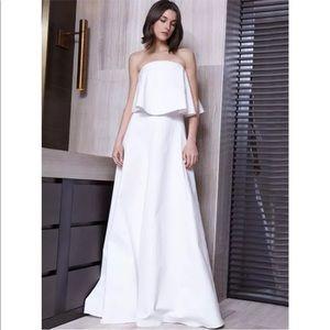 ALEXIS Ola white cotton ruffle maxi dress bride XS