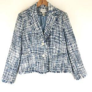 Chadwicks Blazer Fringe Trim Woven Suit Jacket