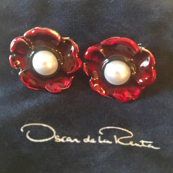 enamel flower earrings - Red Oscar De La Renta 1fqgfthD8