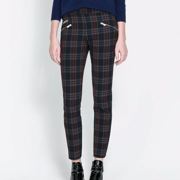 53e190a5 Zara navy plaid skinny pant with zippers size XS