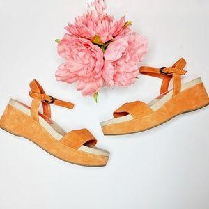 VIA SPIGA • orange suede leather platform sandals
