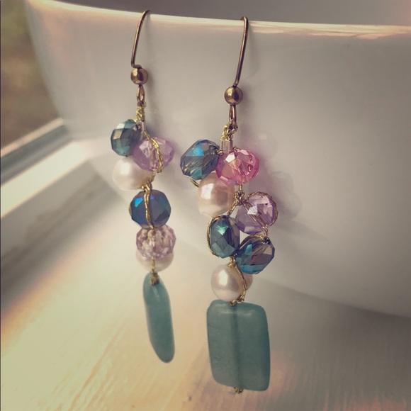 40995a9e5 Erica Hergenroeder Jewelry   Glass Freshwater Pearl Earrings Green ...
