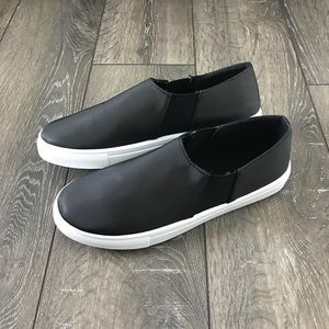 Shoes - Black Satin Slip Ons