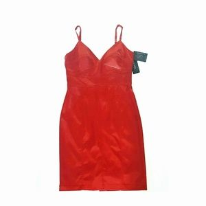 Sue Wong Spaghetti Strap Red Satin Mini Dress