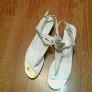 White Sandals With Gold Details NEW