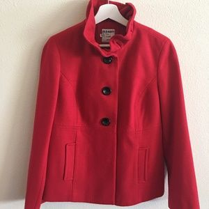 Old Navy Ruffle Collar Wool Peacoat in Radiant Red