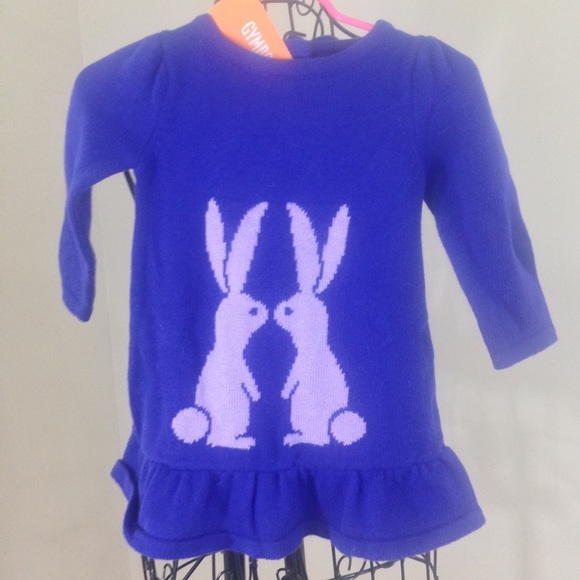 GYMBOREE LAVENDER BUNNY PURPLE BUNNY SWEATER DRESS 6 12 18 24 2T 3T NWT