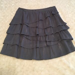 H&M tiered skirt. Gray with metallic threads.