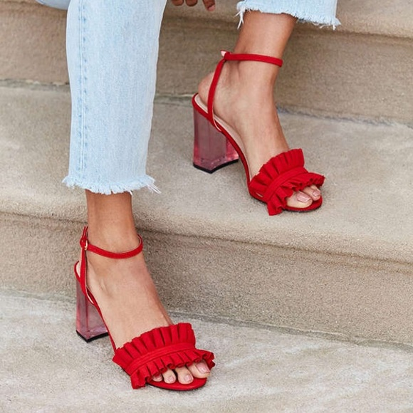 aa1af3a5886 Urban Outfitters Red Rachel Lucite Block Heels. M 59fc7b4b4e8d17b3f103a506
