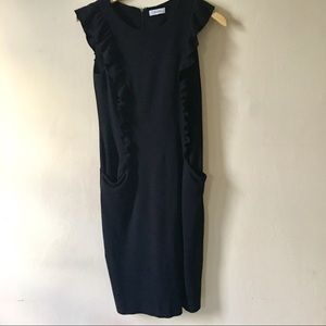 HP! Calvin Klein Ruffle Sleeve Black Dress