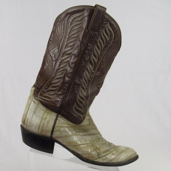 4a8da4d78b3 Tony Lama mens size 13D eel leather cowboy boots.