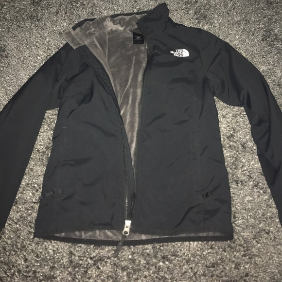 833ea0653 Girls Black North Face Jacket with fuzzy inside!