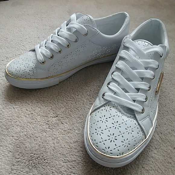 White & Gold Perforated Leather Sneakers