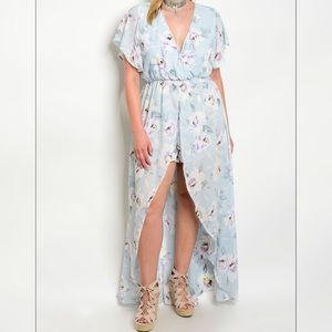 Light Blue Gray Floral Romper With Train