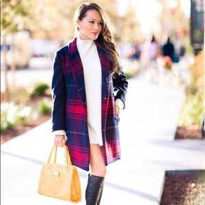GAP Festive Plaid Wool Coat Sz M