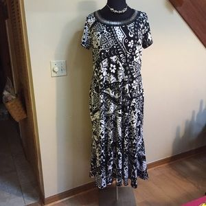 Plus Size Black and White Maxi Dress