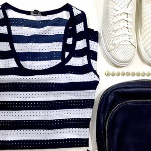 Sporty Chic Striped Perforated Sleeveless Top