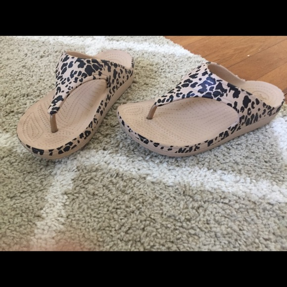 b8d74654de64 CROCS Shoes | Animal Print Croc Flip Flops | Poshmark