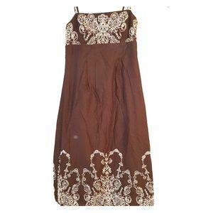 Isaac Mizrahi dress sz 6 brown / white embroidery