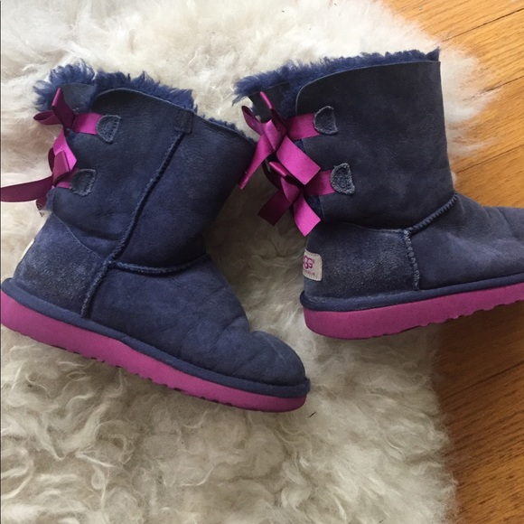 Kids Bailey Bow Uggs Purple Navy