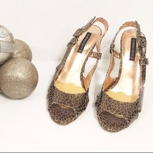 Claudia Ciuti Brown Leather Metallic Heel Sandals