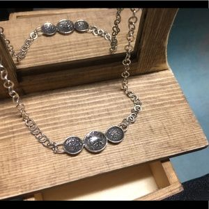 Rustic textured sterling silver artisan necklace