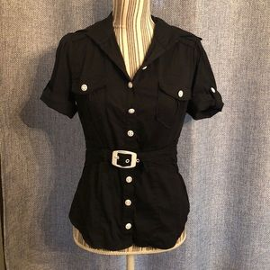 Bebe black button up with sewn in belt