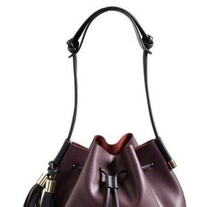 Vince Camuto plum drawstring bag