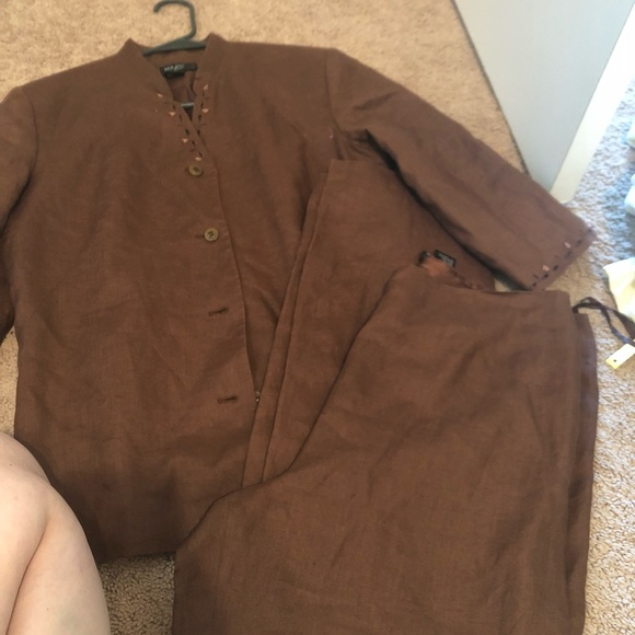 Due Per Due Jackets Coats Womens Linen Pant Jacket Suit Sz 10