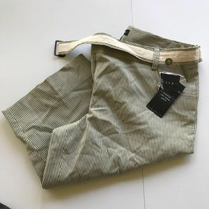 BNWT, olive green/cream bermuda shorts with belt