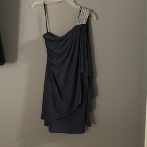 Betsy & Adam Grey One Shoulder Dress